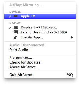 AirParrot Menu
